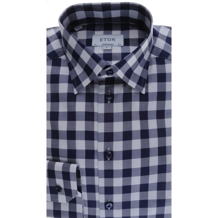 ETON Cotton Navy Shirt in a Large Check