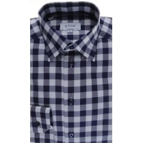 Cotton Navy Shirt in a Large Check