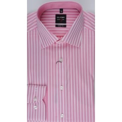 Cotton Stretch Pink Stripe Slim Fitting Shirt
