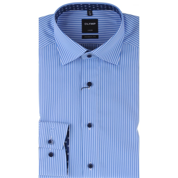 OLYMP Cotton Stripe Shirt in Blue or Purple