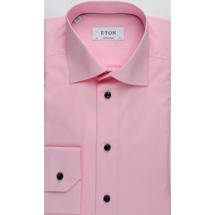 ETON Cotton Tailored Shirt in a Micro Check in Navy or Pink