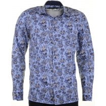 Cotton Tailored Shirt with Birds and Flowers Design