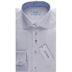 Cotton Twill White Tailored Shirt with Trim