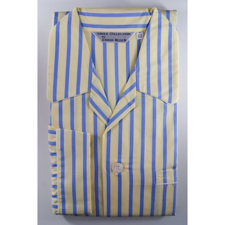 DEREK ROSE Mens Cotton Stripe Elasticated Waisted Pyjamas