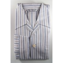 Mens Warm Brushed Cotton Stripe Elasticated Waist Pyjamas