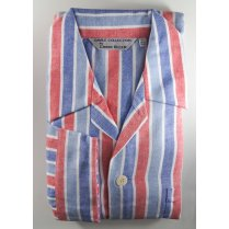 Mens Warm Brushed Cotton Stripe Tie Waist Pyjamas
