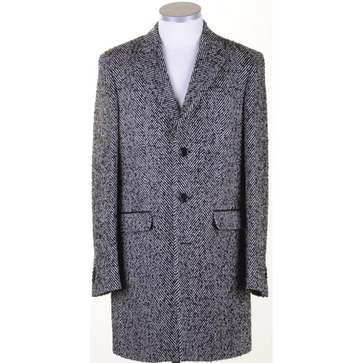 DIGEL Black and White Herringbone Tailored Coat