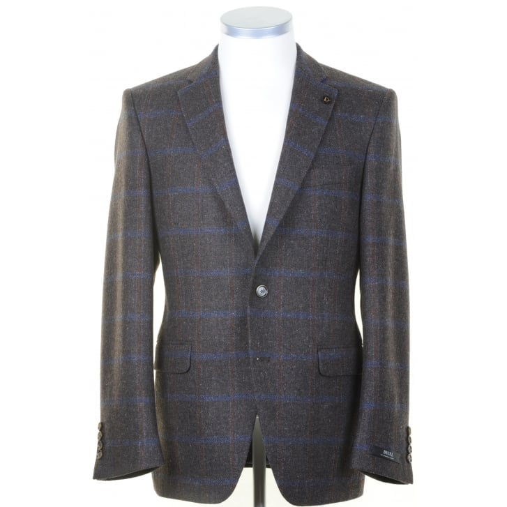 DIGEL Brown Sports Jacket with Blue and Tan Overcheck