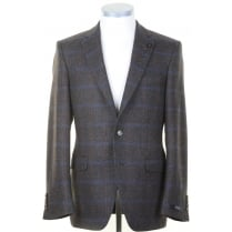 Brown Sports Jacket with Blue and Tan Overcheck