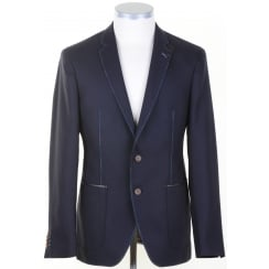 Contemporary Navy Blazer With Trims and Stitch Detail