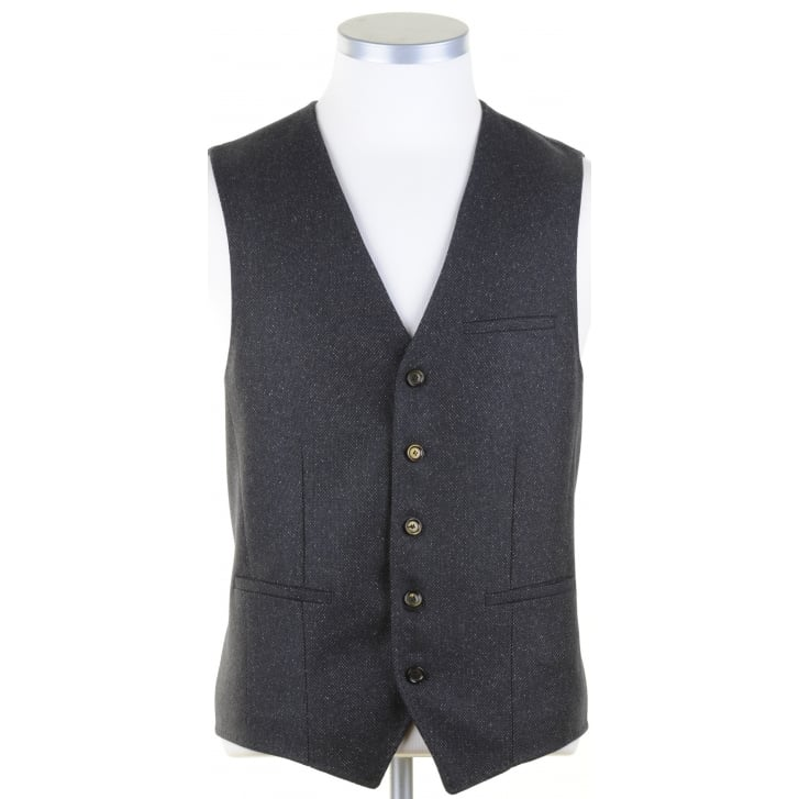 DIGEL Green and Navy Fine Tweed Waistcoat