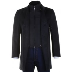 Stylish Warm Grey Twill  Coat With Zipped Insert and Trim