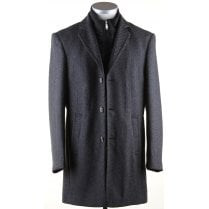 Stylish Warm Grey Twill  Coat With Zipped Insert and Trim