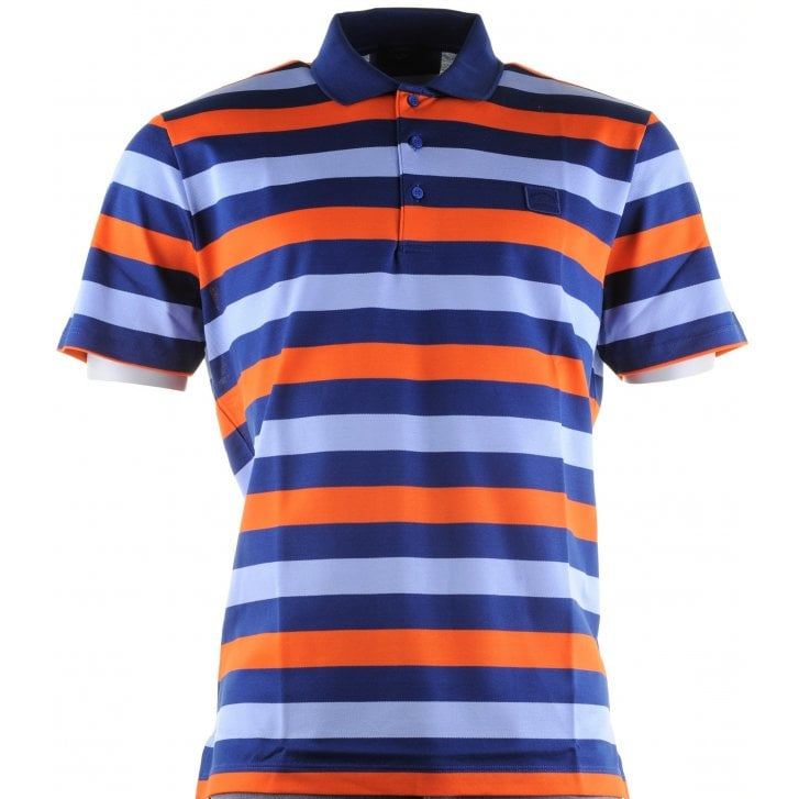 PAUL & SHARK Double Merceriized Cotton Striped Pique Polo Shirt