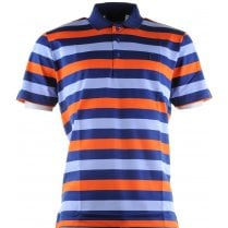 Double Merceriized Cotton Striped Pique Polo Shirt