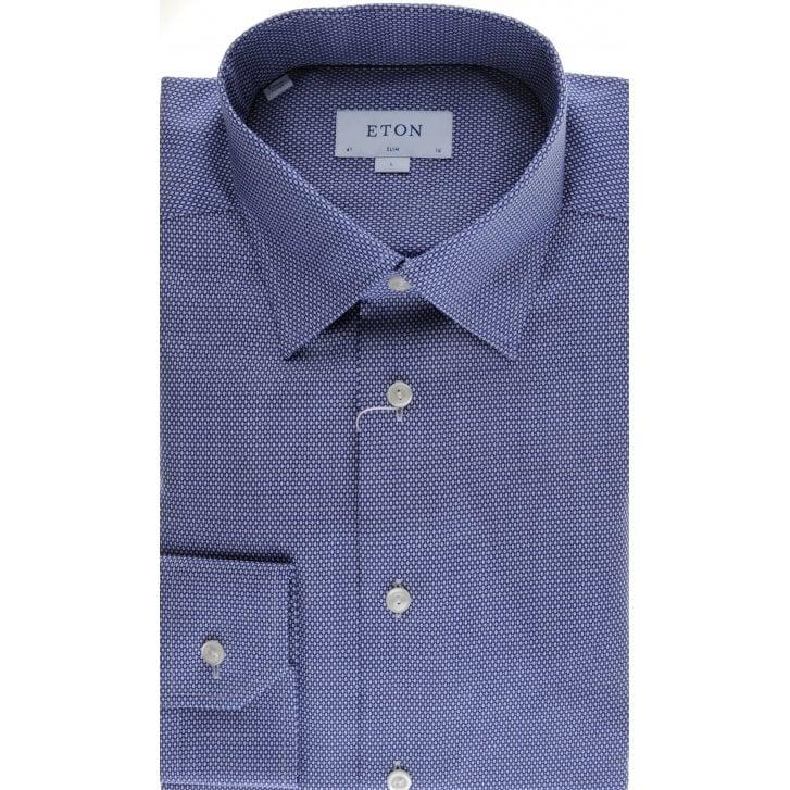 ETON Blue Birdseye Cotton Slim Fit Shirt