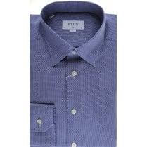 Blue Birdseye Cotton Slim Fit Shirt