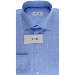 Blue Cotton Square Pattern Shirt in a Tailored Fit