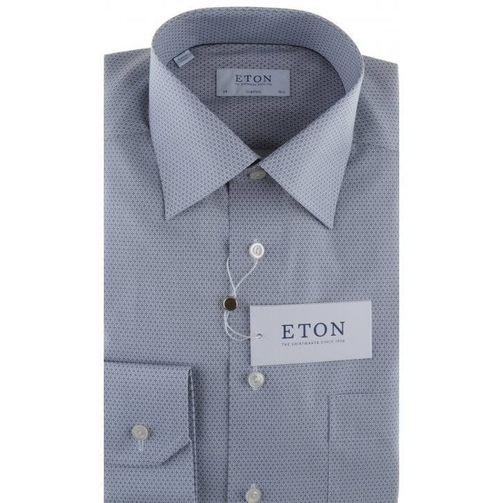 ETON Blue or Grey Patterned Cotton Shirt in a Classic Fit