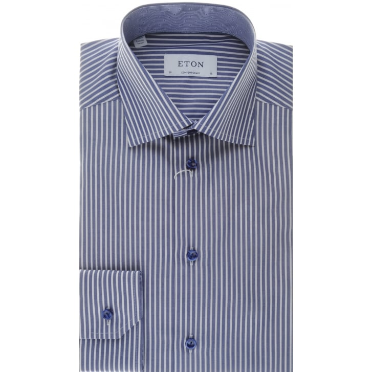 ETON Blue Stripe Cotton Shirt in a Tailored fit