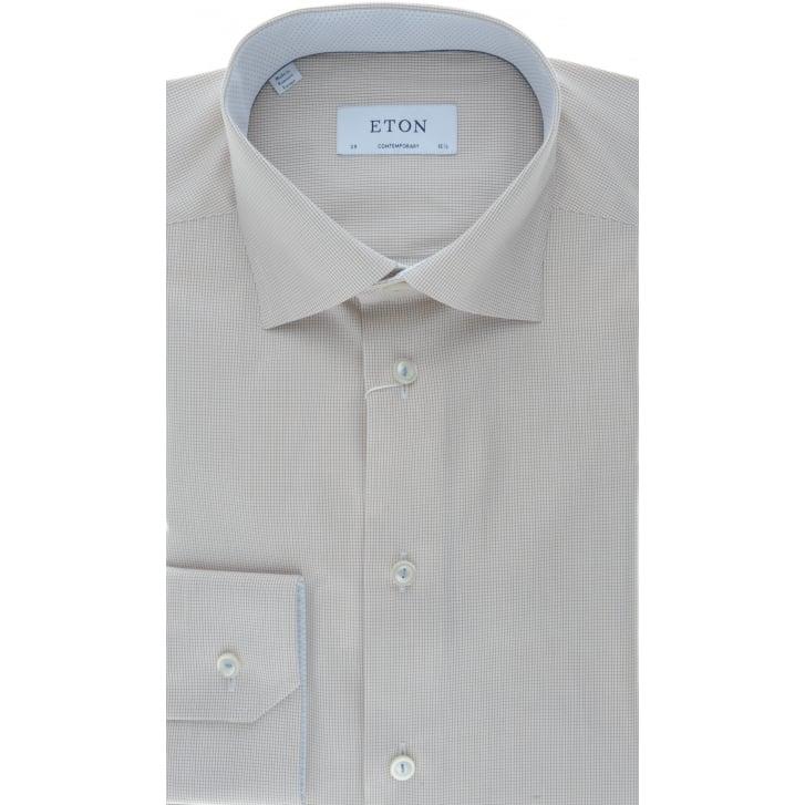 ETON Brown Micro Check Cotton Shirt