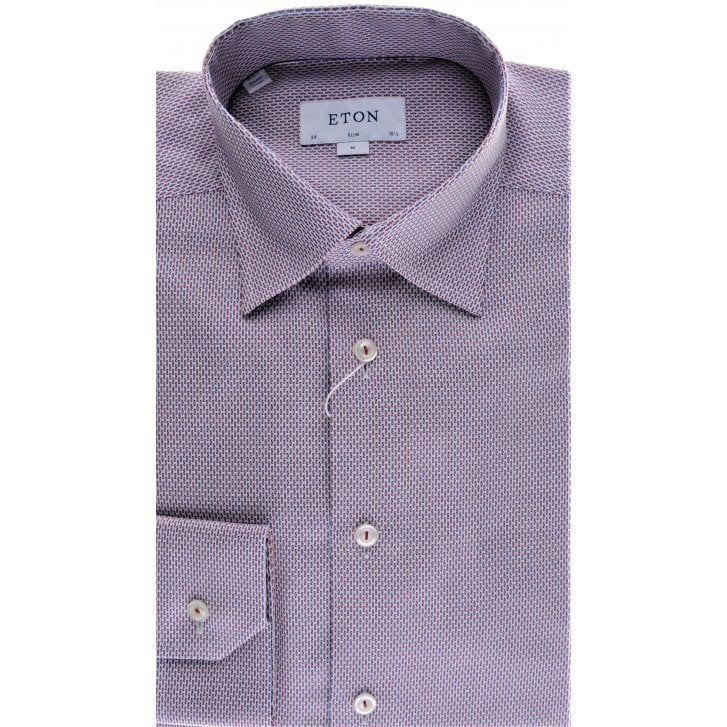 ETON Cotton Blue and Pink Patterned Slim Fit Shirt