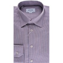Cotton Blue and Pink Patterned Slim Fit Shirt