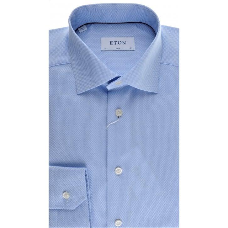ETON Cotton Blue Micro Square Slim Fit Shirt