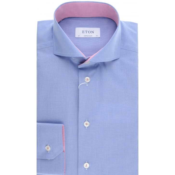 ETON Cotton Blue Shirt with Cutaway Collar