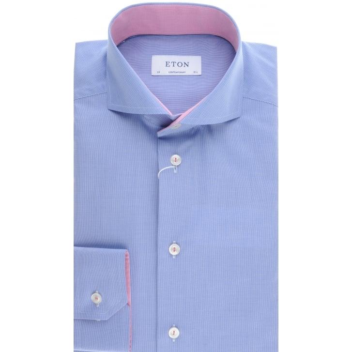 ETON Cotton Blue Shirt with Cutaway Collar