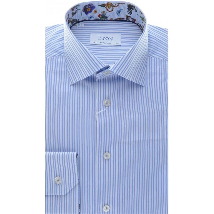 ETON Cotton Blue Stripe Shirt with Pattern Trim