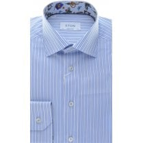 Cotton Blue Stripe Shirt with Pattern Trim