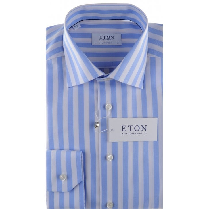 ETON Cotton Broad Stripe Shirt with a Fine Pattern