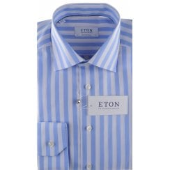Cotton Broad Stripe Shirt with a Fine Pattern