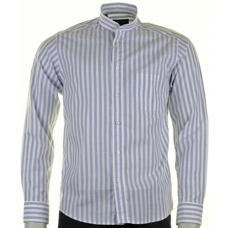 ETON Cotton Broad Stripe Shirt with a Tunic Collar