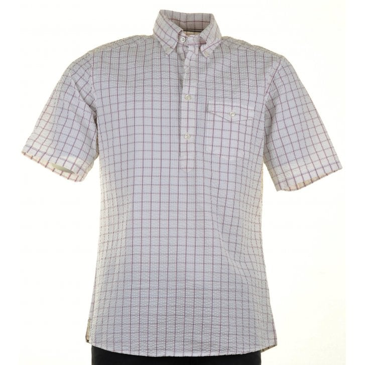 ETON Cotton Cheesecloth Short Sleeved Checked Shirt