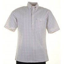 Cotton Cheesecloth Short Sleeved Checked Shirt