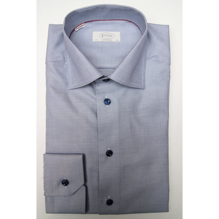 ETON Cotton End on End Pattern Shirt