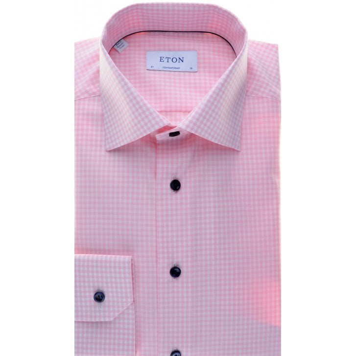 ETON Cotton Gingham Pink Shirt with Navy Buttons