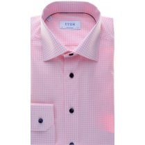 Cotton Gingham Pink Shirt with Navy Buttons