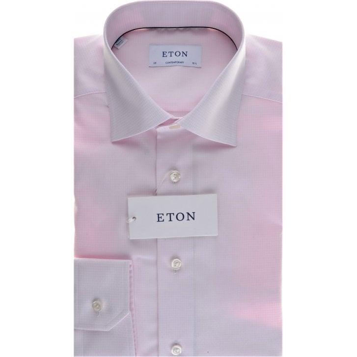 ETON Cotton Pink Micro Square Tailored Fit Shirt