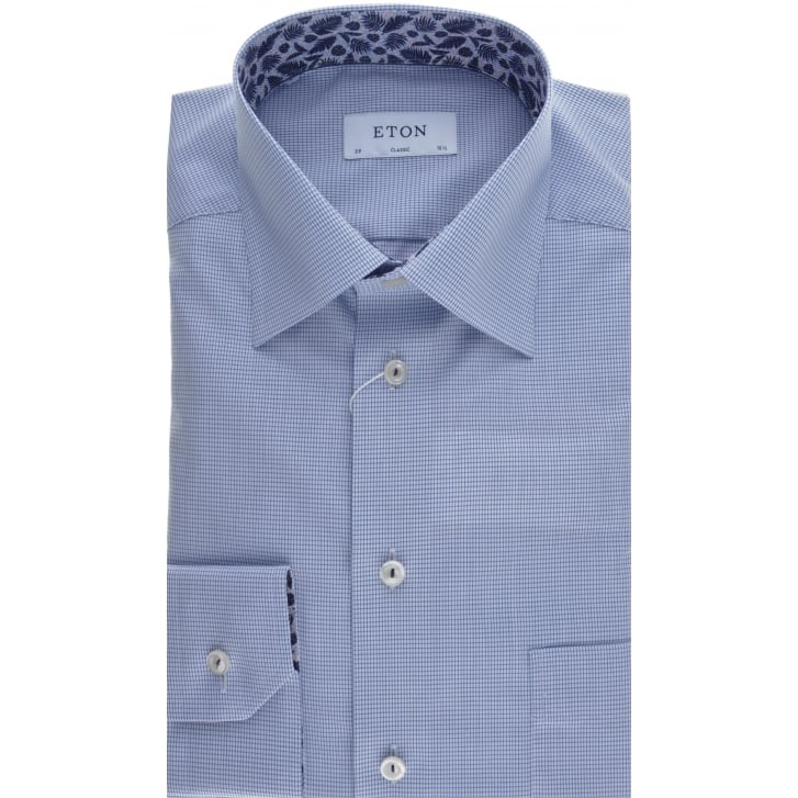 ETON Cotton Poplin Shirt in a Fine Micro Blue Check
