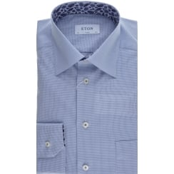 Cotton Poplin Shirt in a Fine Micro Blue Check
