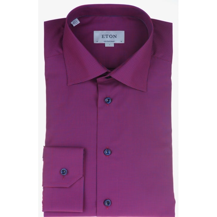 ETON Cotton Raspberry Micro Check Shirt