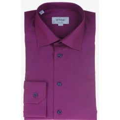 Cotton Raspberry Micro Check Shirt