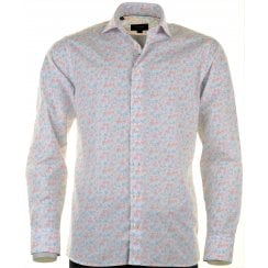 Cotton Slim Fit Flowered Shirt with Soft Collar