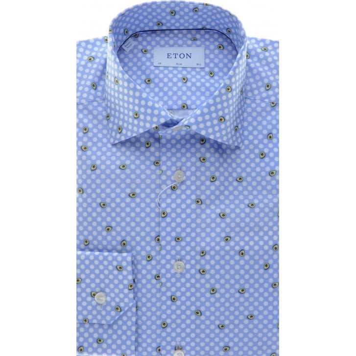 ETON Cotton Spotted Shirt with Avocado Pear