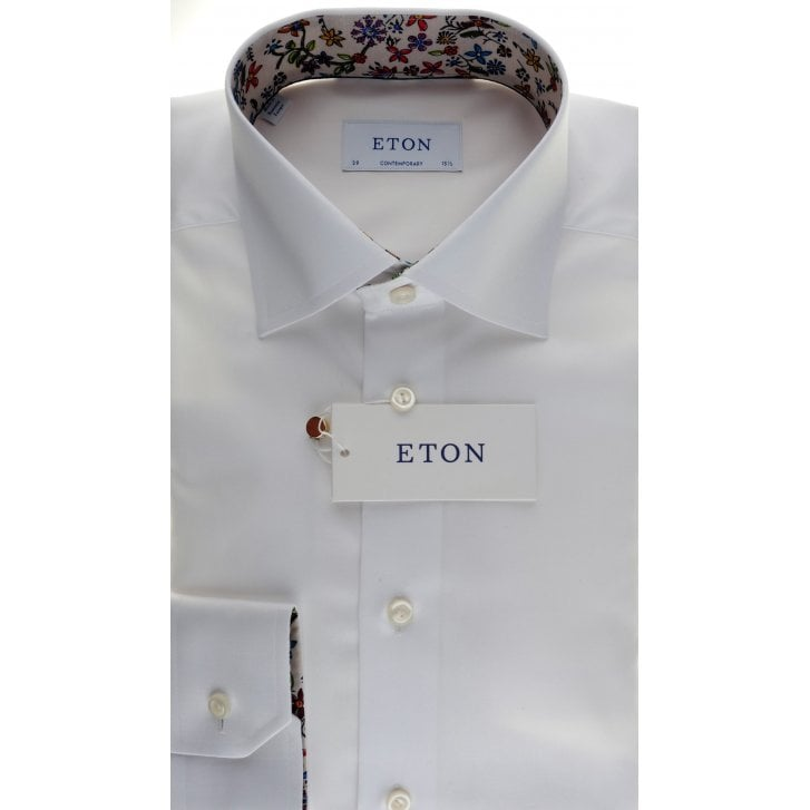 ETON Cotton Twill Tailored Fit Shirt with Trim