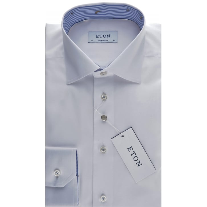 ETON Cotton Twill White Tailored Shirt with Trim
