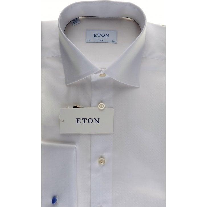 ETON Fancy White Double Cuff Slim Fit Shirt